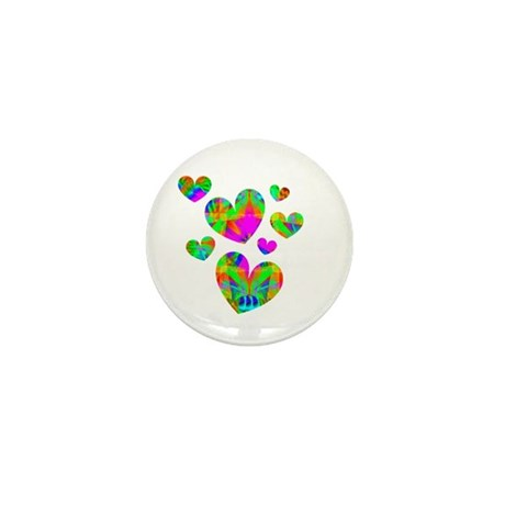 Kaleidoscope Hearts Mini Button