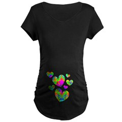 Kaleidoscope Hearts Maternity Dark T-Shirt