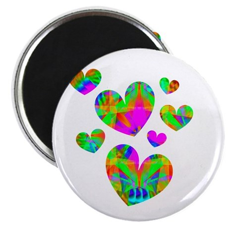 "Kaleidoscope Hearts 2.25"" Magnet (10 pack)"