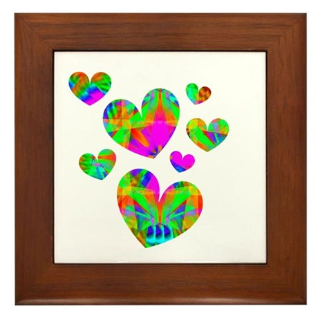 Kaleidoscope Hearts Framed Tile
