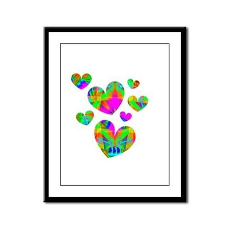 Kaleidoscope Hearts Framed Panel Print