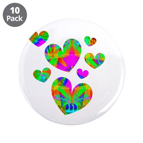 "Kaleidoscope Hearts 3.5"" Button (10 pack)"