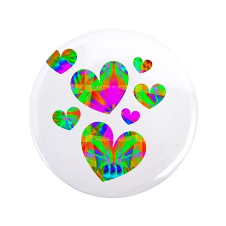 "Kaleidoscope Hearts 3.5"" Button (100 pack)"