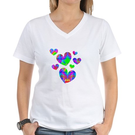 Kaleidoscope Hearts Women's V-Neck T-Shirt