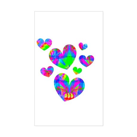 Kaleidoscope Hearts Rectangle Sticker