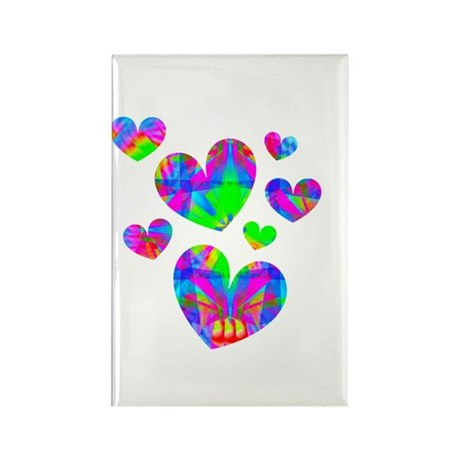 Kaleidoscope Hearts Rectangle Magnet (10 pack)