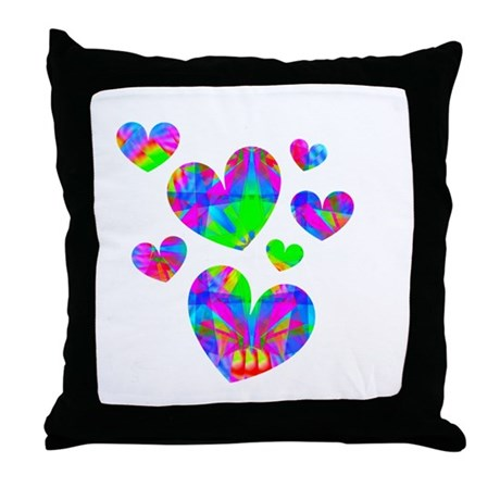 Kaleidoscope Hearts Throw Pillow