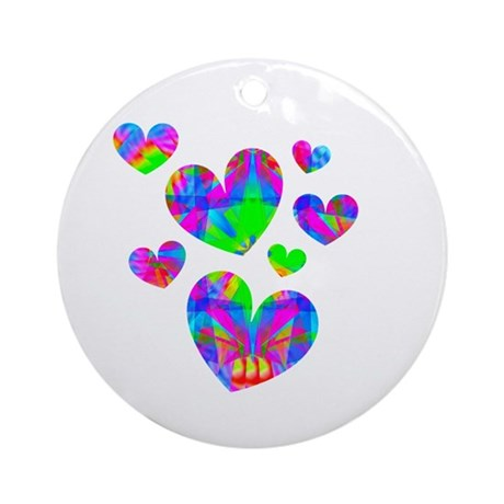 Kaleidoscope Hearts Ornament (Round)