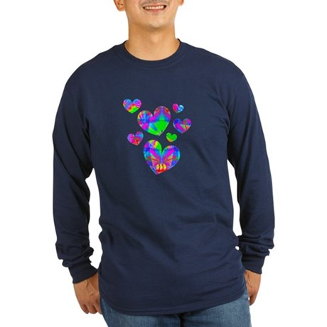 Kaleidoscope Hearts Long Sleeve Dark T-Shirt