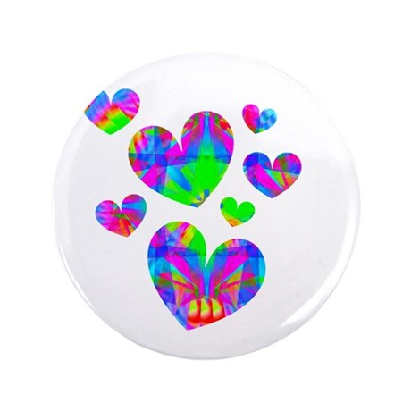 "Kaleidoscope Hearts 3.5"" Button"