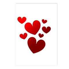 Red Valentine Hearts Postcards (Package of 8)