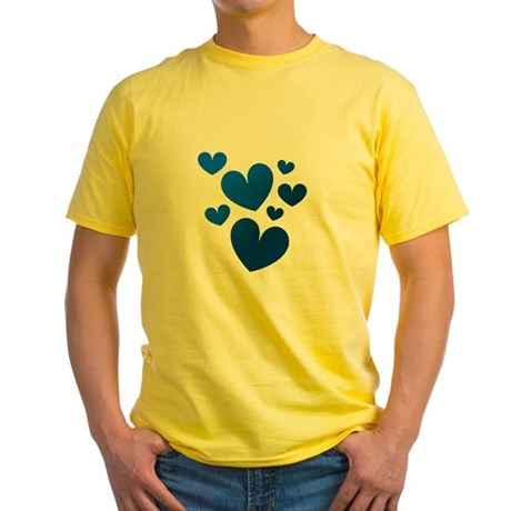 Blue Valentine Hearts Yellow T-Shirt