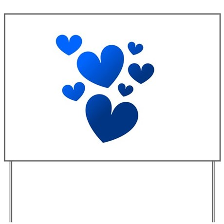 Blue Valentine Hearts Yard Sign