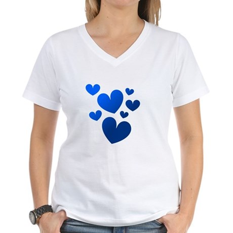 Blue Valentine Hearts Women's V-Neck T-Shirt
