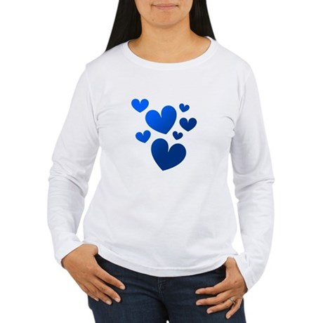 Blue Valentine Hearts Women's Long Sleeve T-Shirt