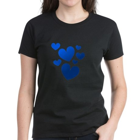 Blue Valentine Hearts Women's Dark T-Shirt