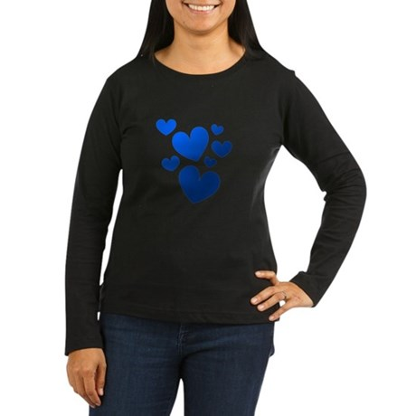 Blue Valentine Hearts Women's Long Sleeve Dark T-S