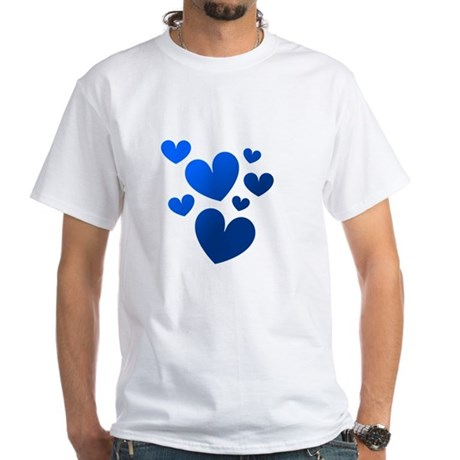 Blue Valentine Hearts White T-Shirt