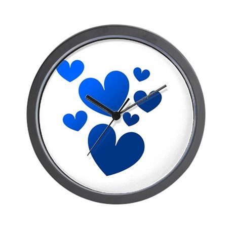Blue Valentine Hearts Wall Clock