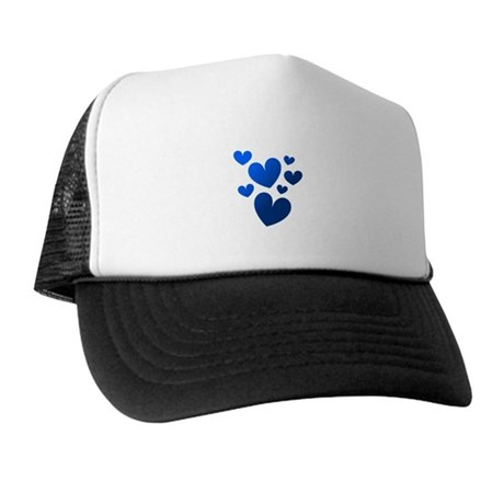 Blue Valentine Hearts Trucker Hat