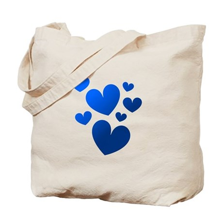 Blue Valentine Hearts Tote Bag