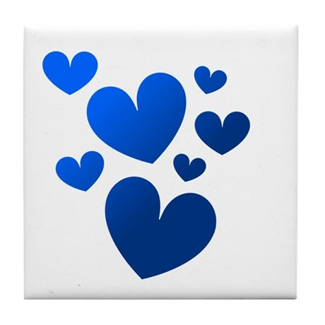 Blue Valentine Hearts Tile Coaster