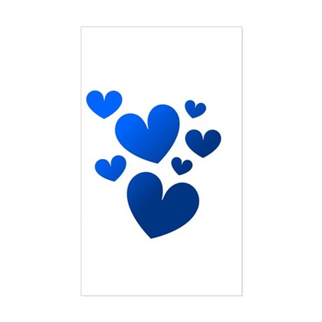 Blue Valentine Hearts Rectangle Sticker