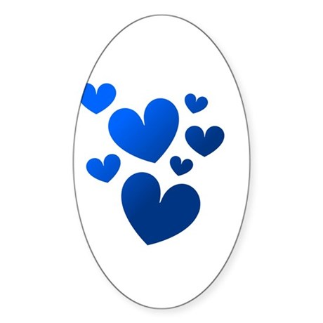 Blue Valentine Hearts Oval Sticker