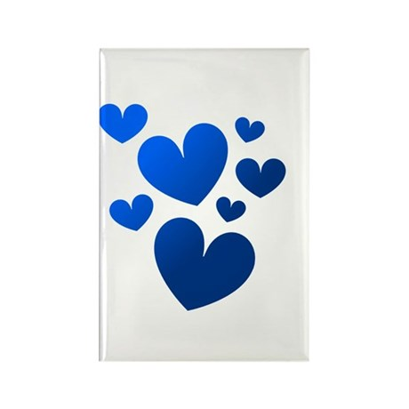 Blue Valentine Hearts Rectangle Magnet (10 pack)