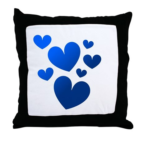 Blue Valentine Hearts Throw Pillow