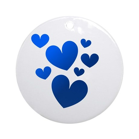 Blue Valentine Hearts Ornament (Round)