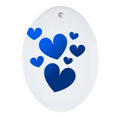 Blue Valentine Hearts Oval Ornament