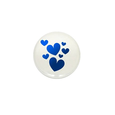Blue Valentine Hearts Mini Button (100 pack)
