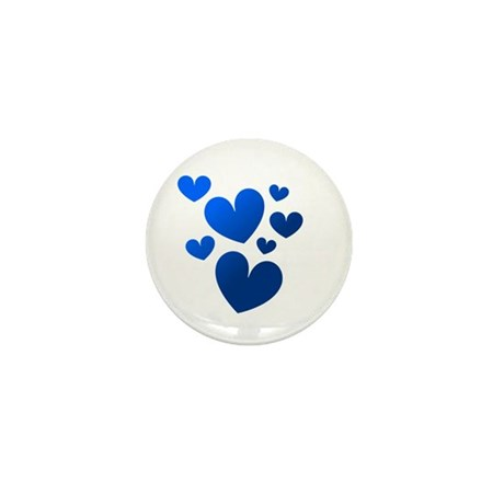 Blue Valentine Hearts Mini Button