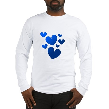Blue Valentine Hearts Long Sleeve T-Shirt