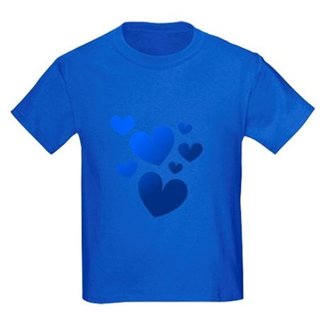 Blue Valentine Hearts Kids Dark T-Shirt