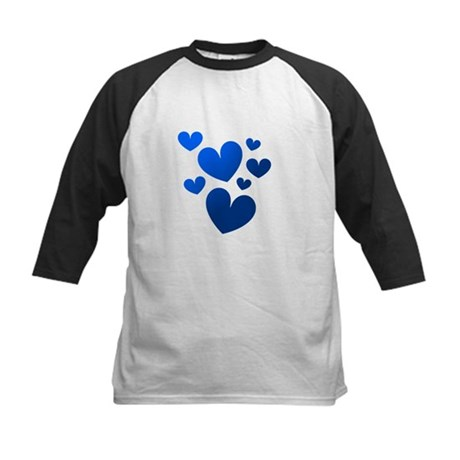 Blue Valentine Hearts Kids Baseball Jersey