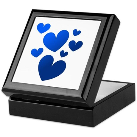 Blue Valentine Hearts Keepsake Box