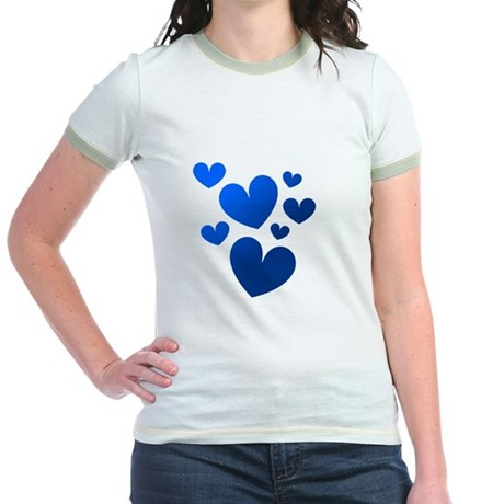 Blue Valentine Hearts Jr. Ringer T-Shirt