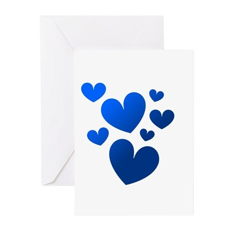 Blue Valentine Hearts Greeting Cards (Pk of 10)