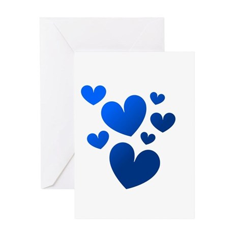 Blue Valentine Hearts Greeting Card