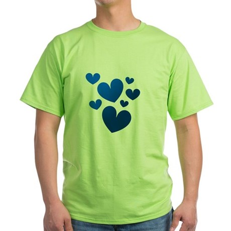 Blue Valentine Hearts Green T-Shirt