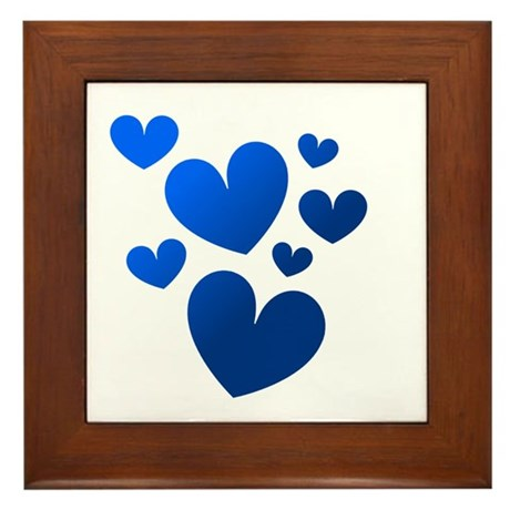Blue Valentine Hearts Framed Tile