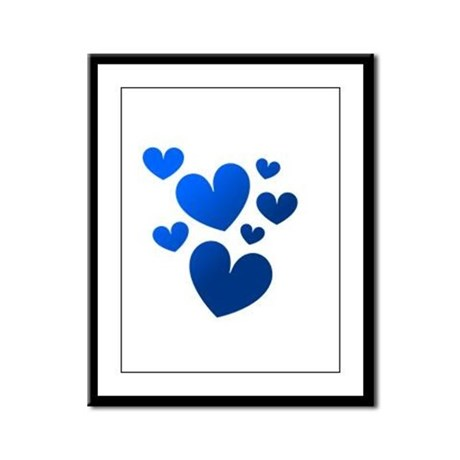 Blue Valentine Hearts Framed Panel Print