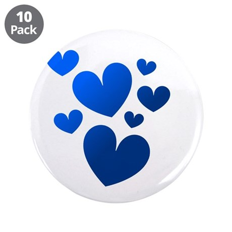 "Blue Valentine Hearts 3.5"" Button (10 pack)"