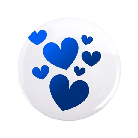 "Blue Valentine Hearts 3.5"" Button"