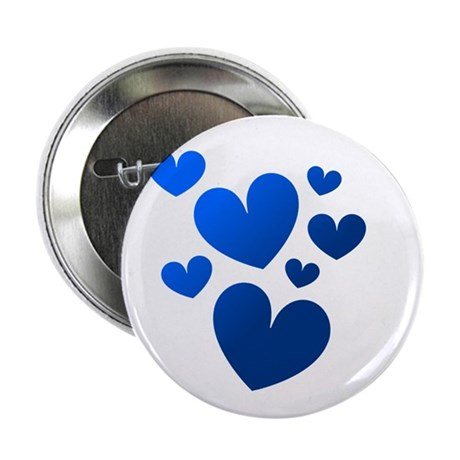 "Blue Valentine Hearts 2.25"" Button (100 pack)"