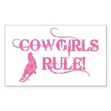 Cowgirls Rule Rectangle Decal