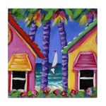 Bahama Cottages Tile Coaster