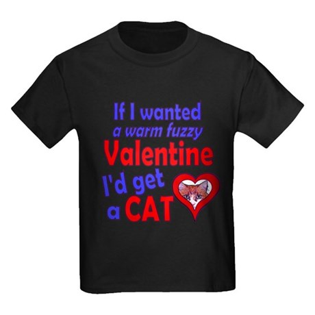 Cat Funny Anti-Valentine Kids Dark T-Shirt